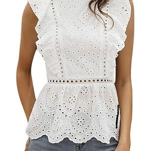 Sleeveless White Eyelet Top from Simplee. Sz L